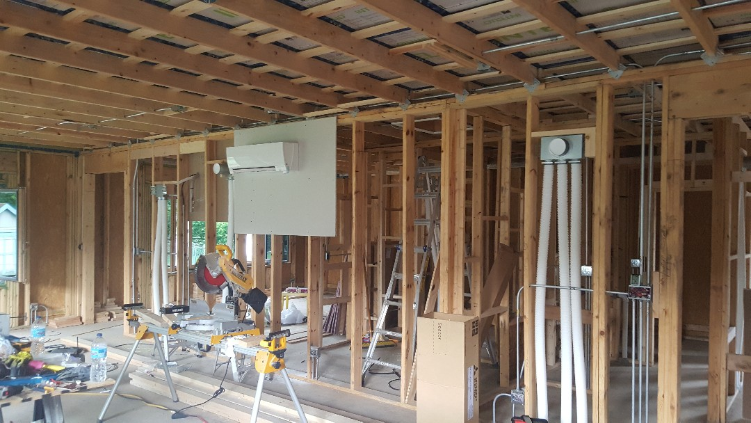 "Palatine, IL - Installing a Mitsubishi 3- zone Hyper Heat system for a new construction ""Net Zero"" Passive Home in Palatine, IL 60067."