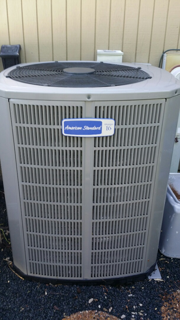 Performing annual maintenance on a 16 seer American Standard air conditioner in Lake Villa, IL