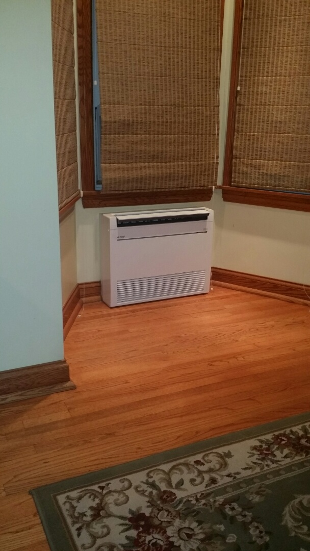 Chicago, IL - Installing Mitsubishi hyper heat unit and low wall mount indoor unit