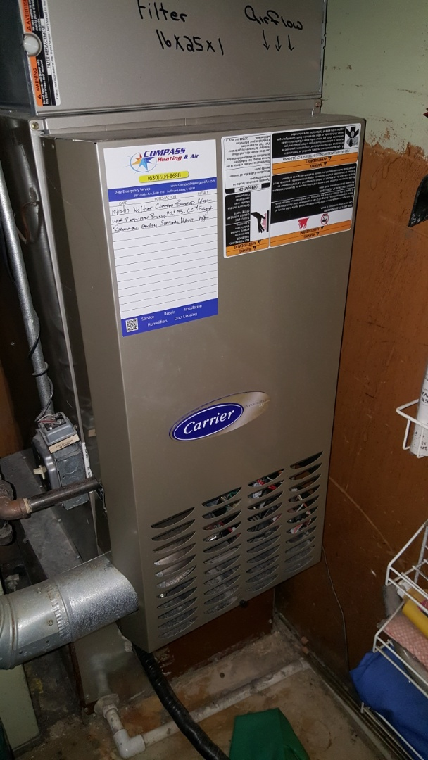 Wheaton, IL - Repairing a Carrier 80% downflow natural gas furnace in Wheaton, IL 60187.