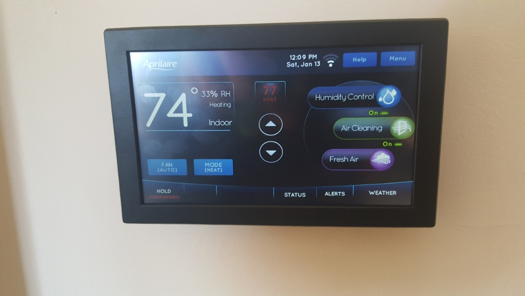 Elk Grove Village, IL - Performing wi-fi setup on an Aprilaire 8920w color touchscreen thermostat control, in Elk Grove Village, IL 60007.