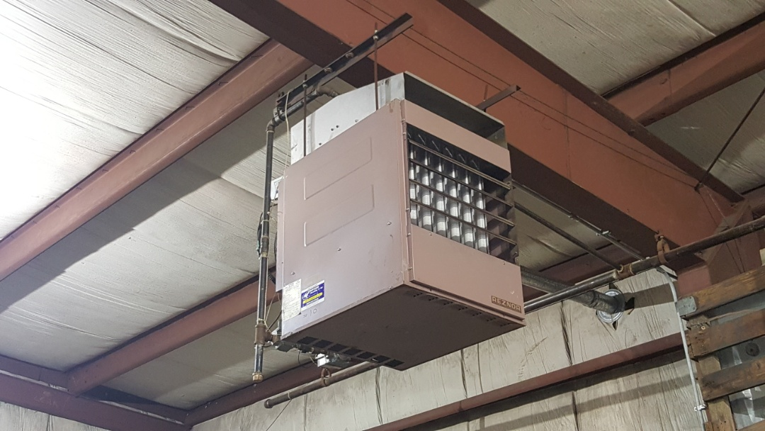 Bensenville, IL - Repairing a Reznor hanging heater in a commercial storage garage, in Bensenville, IL