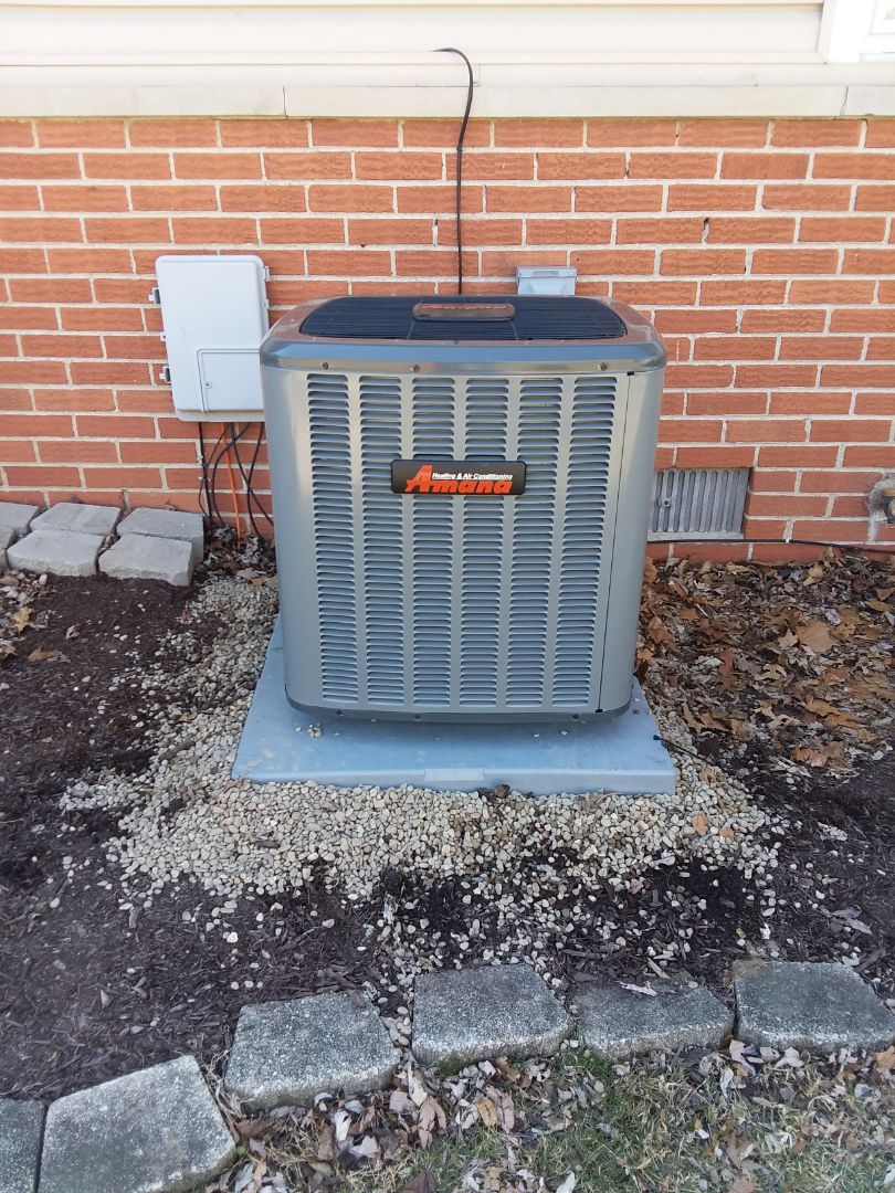 Elk Grove Village, IL - Installing new 97% Amana furnace and 16 seer Amana air conditioning in a residence at Elk Grove Village