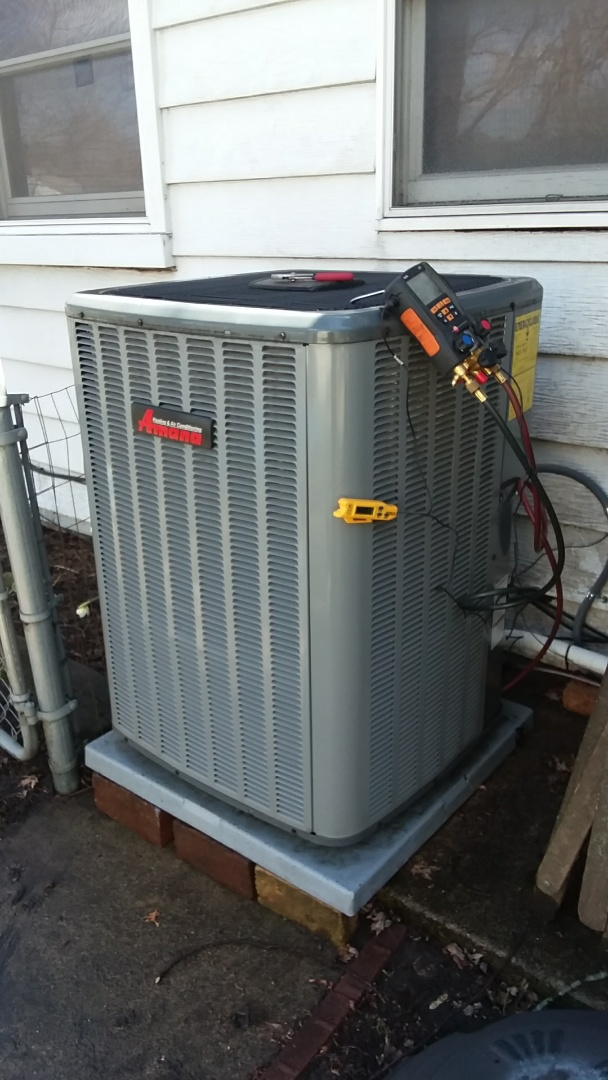 Streamwood, IL - Starting recommended manufacturer maintenance on Amana Air Conditioner model ASX160311AB in Streamwood IL