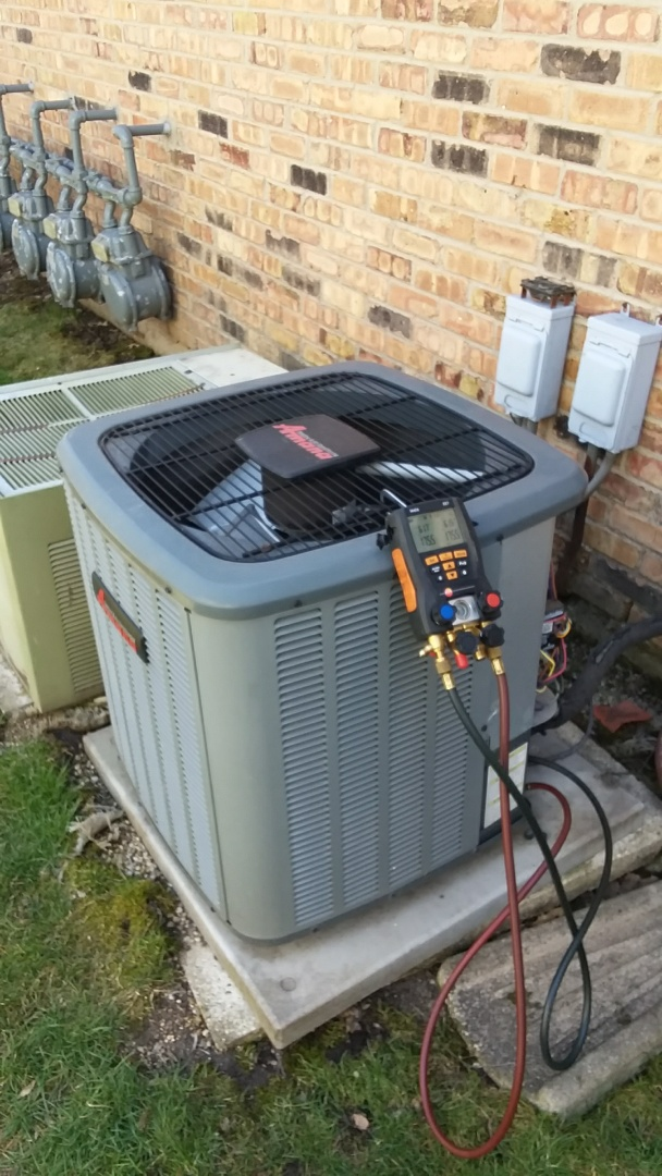 Palatine, IL - Starting recommended manufacturer maintenance on Amana air conditioner model ASX130301CC  R410A in Palatine IL near Hidden Creek