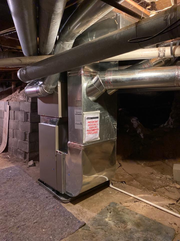 Rockford, MI - Install new furnace redo drop new thermostat picks up return air in add return air