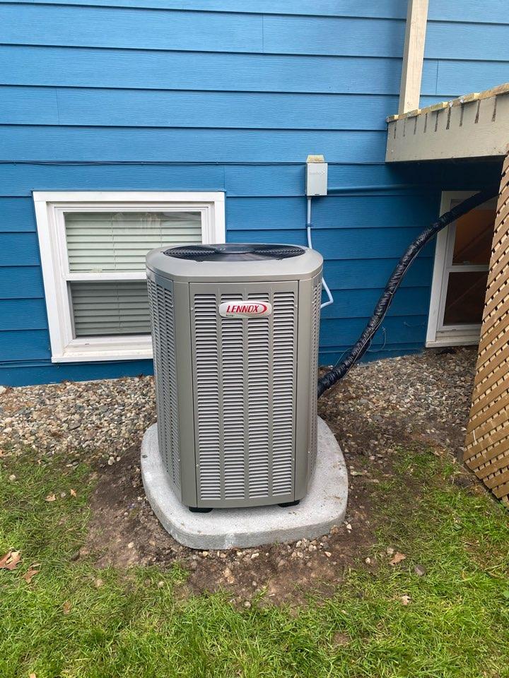 Comstock Park, MI - air conditioner installation call.  Performed air conditioner install on Lennox air conditioner