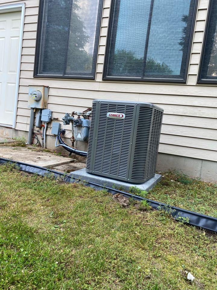 Grandville, MI - Air conditioner installation call.  Performed ac install on Lennox ac