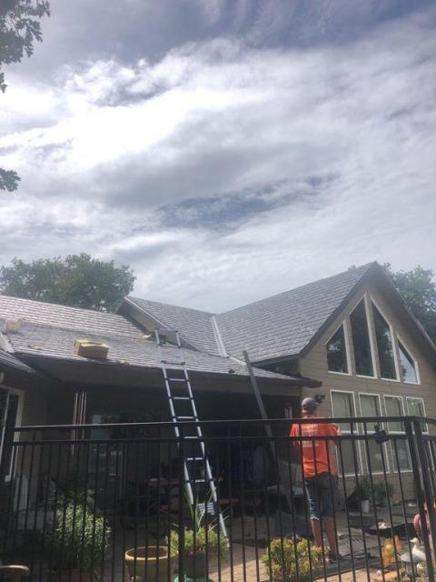 Eagle Point, OR - Out on the job in Eagle Point, just installed a new Recycled Rubber, GEM EUROSHIELD  roof. Don't let a leaky roof rain on your parade, give us a call to take a look at your Roof today.