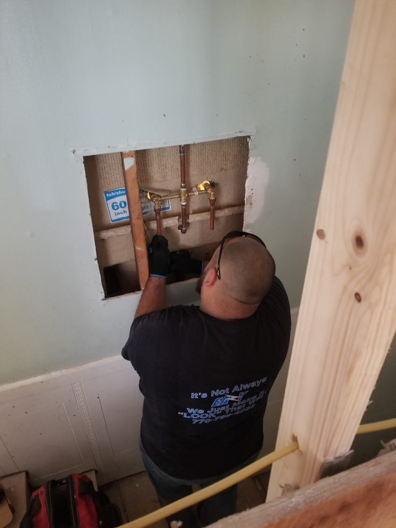 Plumbing remodel, EaZy Electrical & Plumbing are installing new plumbing valves in Rome GA.