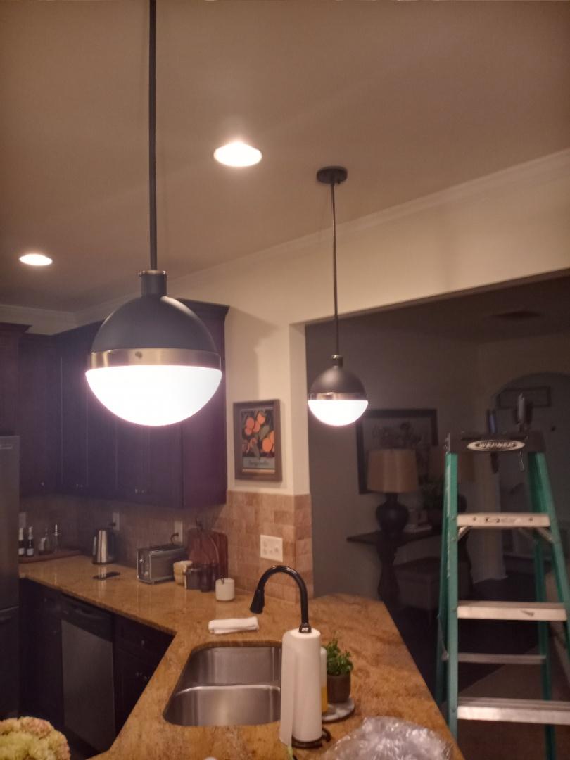 Electrician near me in Acworth Georgia installing pendant lights