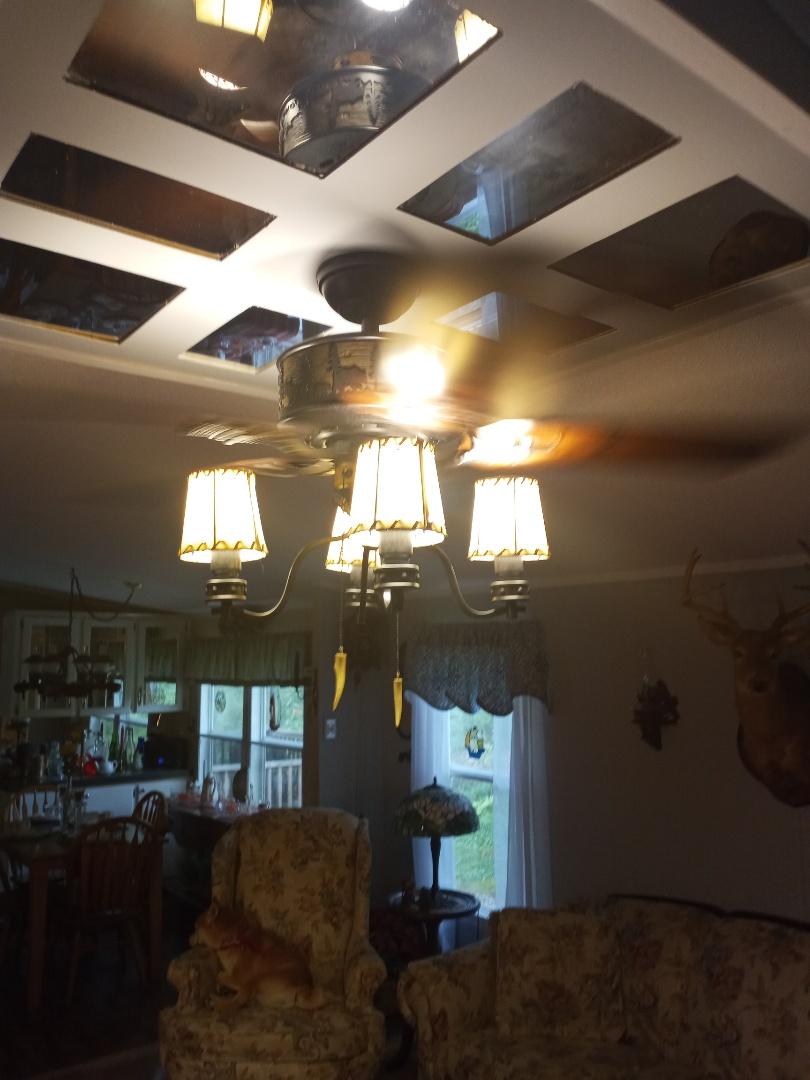 Electrician near me in Lafayette Georgia installing ceiling fan
