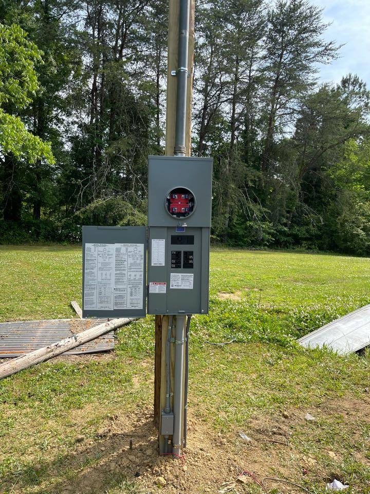 Electrician near me in Calhoun ga installed new power pole