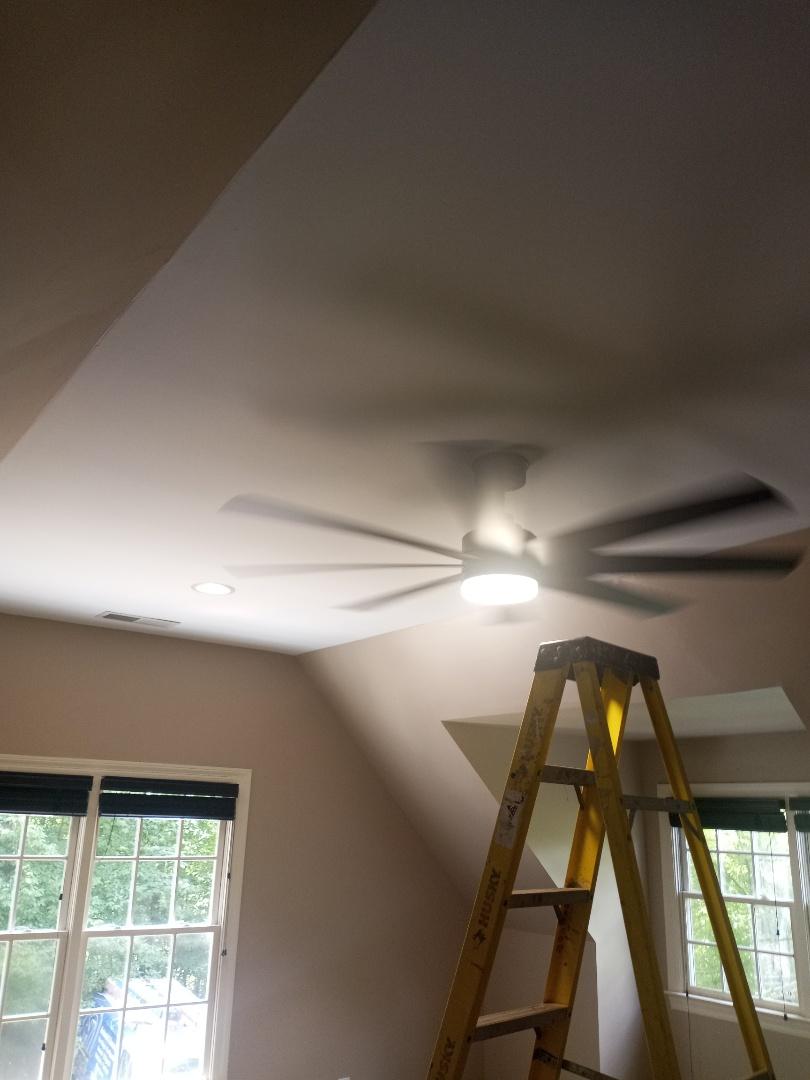 Electrician near me in Rocky Face Georgia installing ceiling fan
