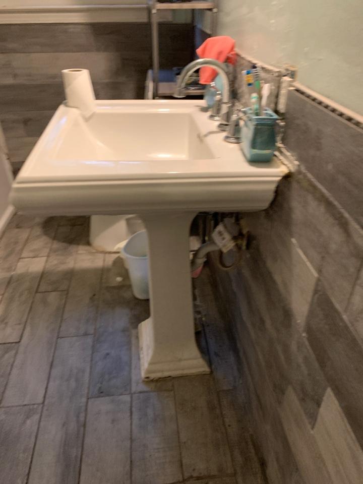 Plumber near me Adairsville Georgia, rework incorrectly installed pedestal sink and new dishwasher install