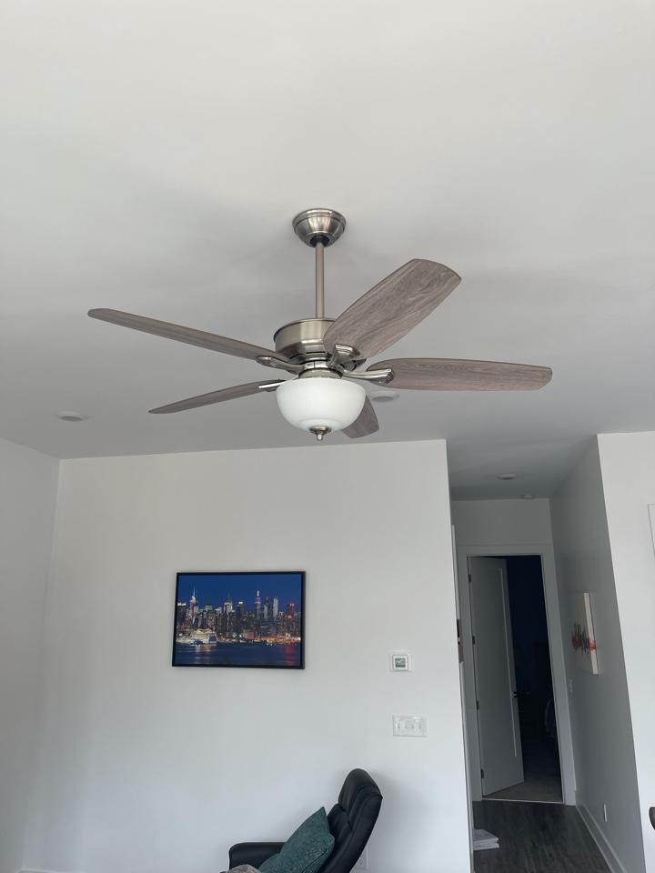 Electrician near me in waleska ga installed new customer supplied ceiling fan on existing circuit.