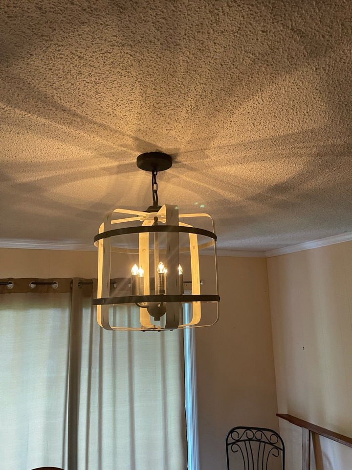 Electrician near me in dalton ga replaced a ceiling fan with a customer supplied light fixture