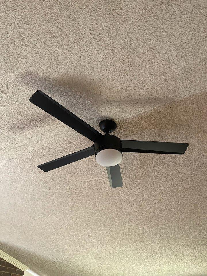 Electrician near me in Kingston ga replaced a broken ceiling fan with a new customer supplied curling fan