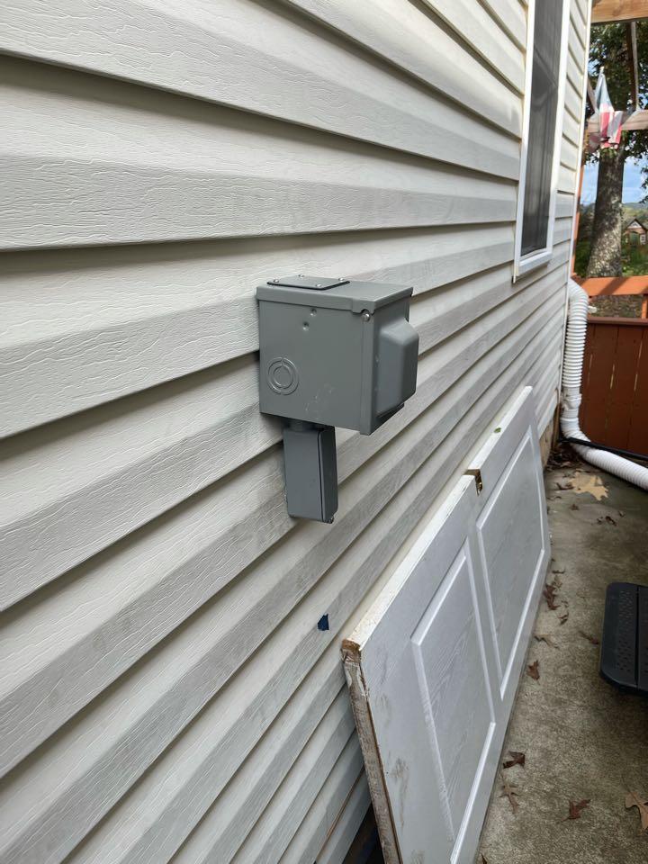 Electrician near me in Calhoun ga installed a new 50 amp outdoor camper plug.