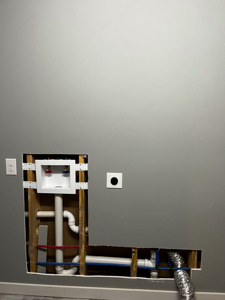 Plumber near me installed washer machine box with drain and water lines