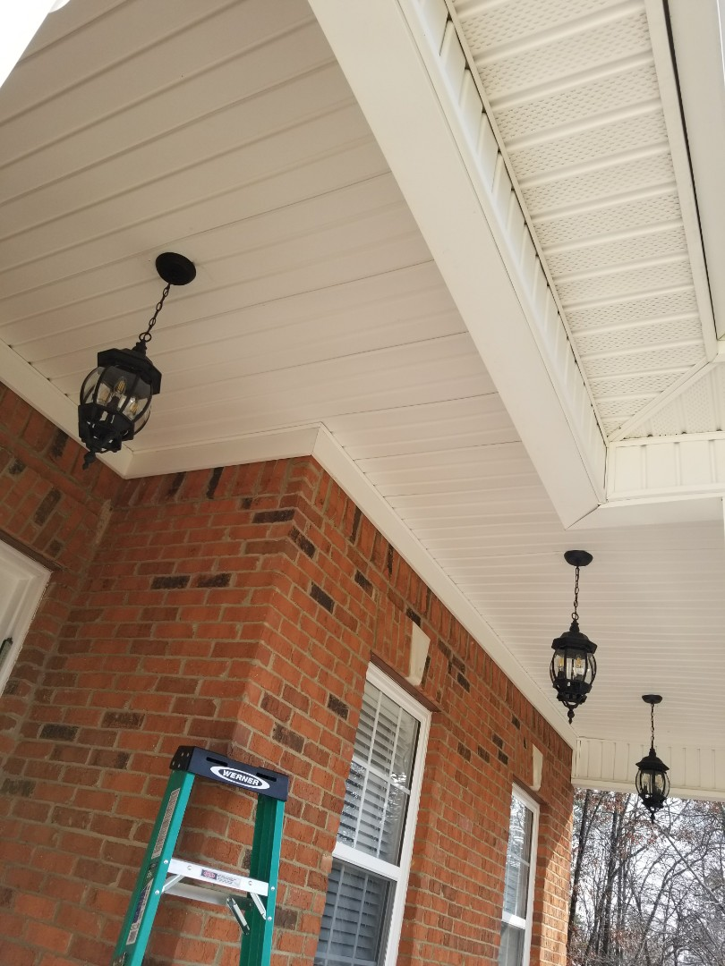Rydal, GA - Installing new Customer supplied LED porch light fixtures.
