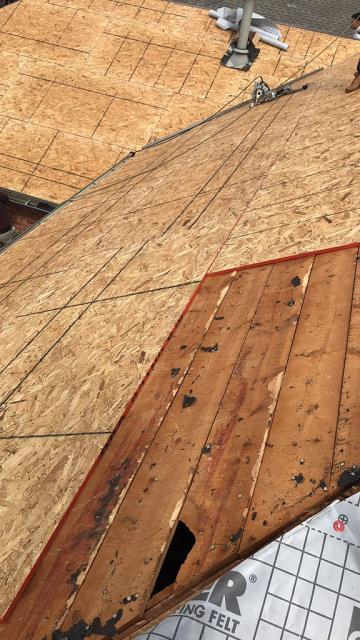 Edmond, OK - We worked with this customers insurance company to get it added on their original scope of work to be completed and installed OSB to bring the roof deck up to code.