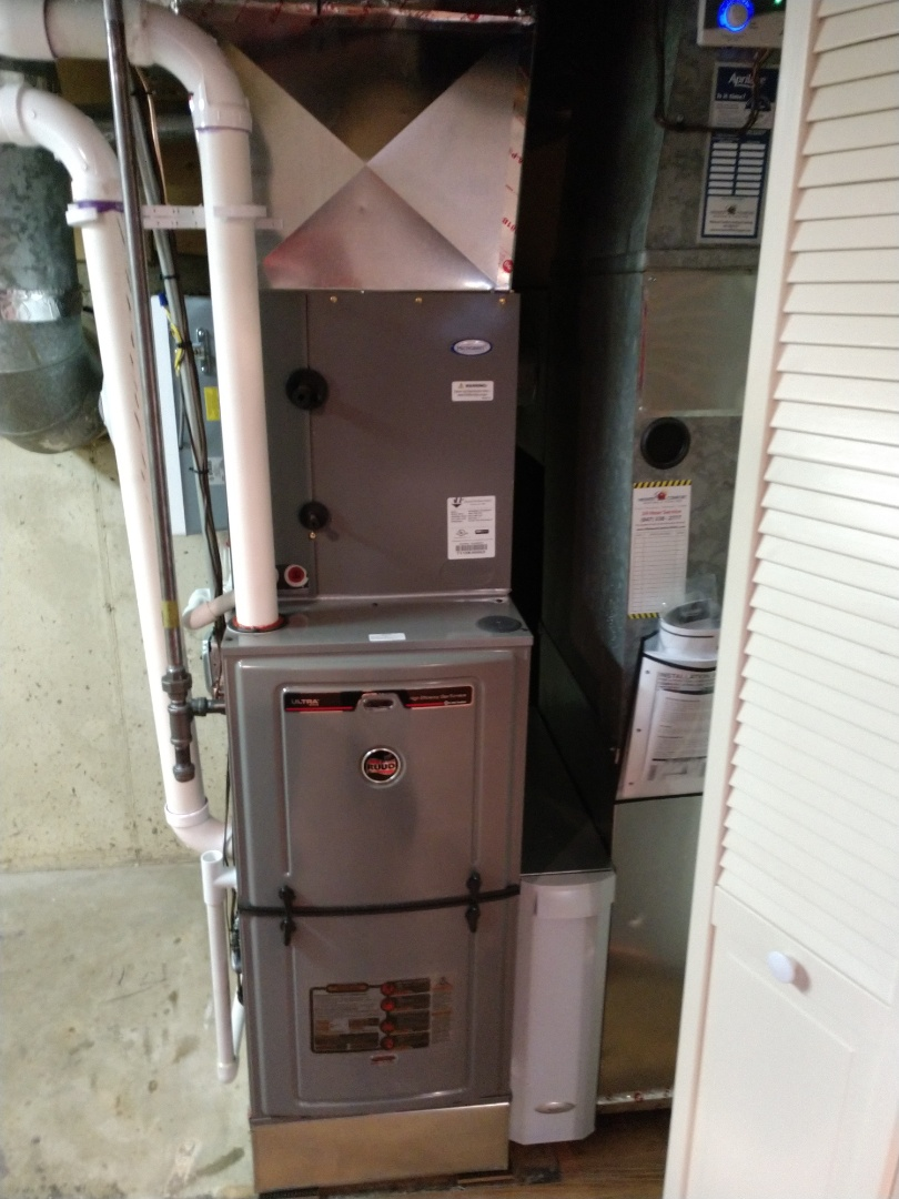 Des Plaines, IL - We performed a furnace installation. We installed the Ruud U96v furnace, Aprilaire humidifier and air cleaner.