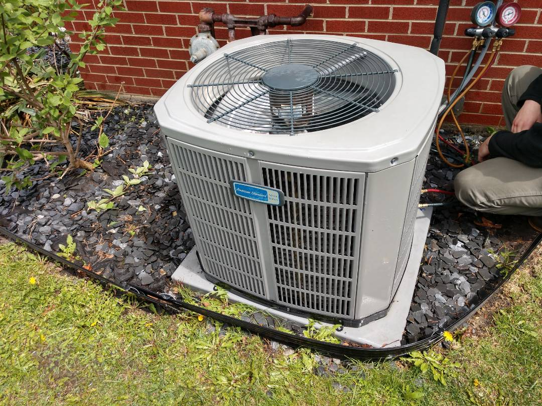 Mount Prospect, IL - Air conditioner cleaning, we performed maintenance on an American Standard Silver 13 condenser