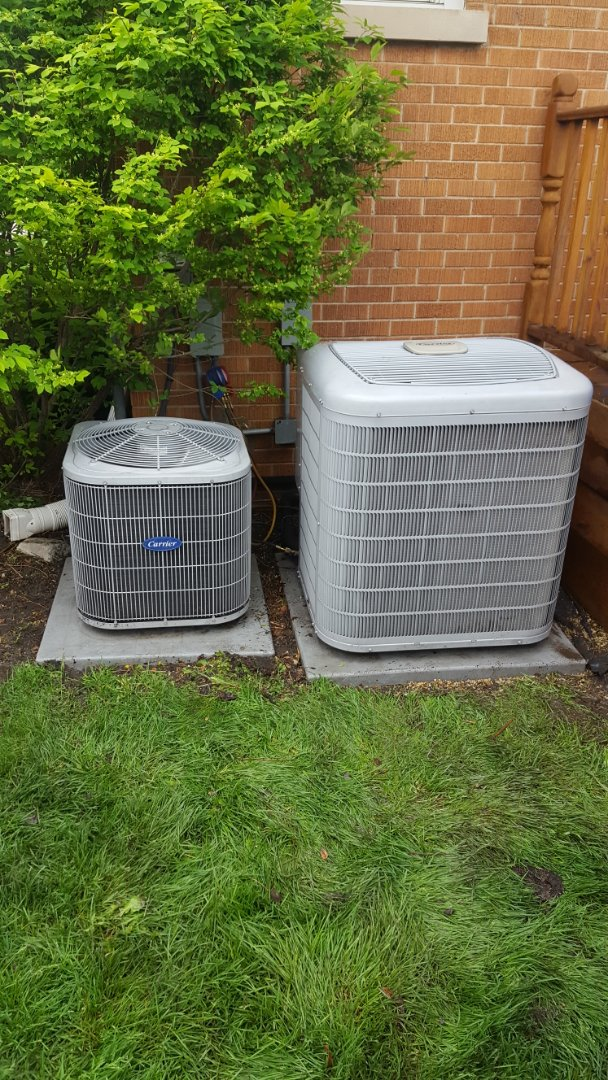 Mount Prospect, IL - Performed A.C. maintenance on two Carrier air conditioners. Air Conditioning tune up in Mt Prospect.