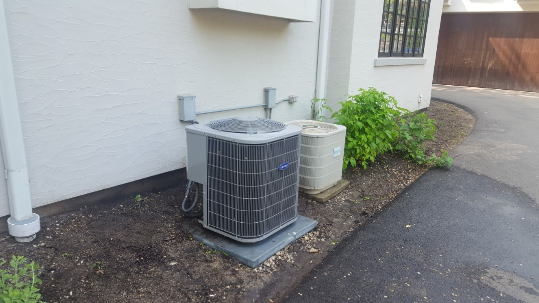 Glencoe, IL - Performed A.C. maintenance on two air conditioners. Air Conditioning tune up in Glencoe.