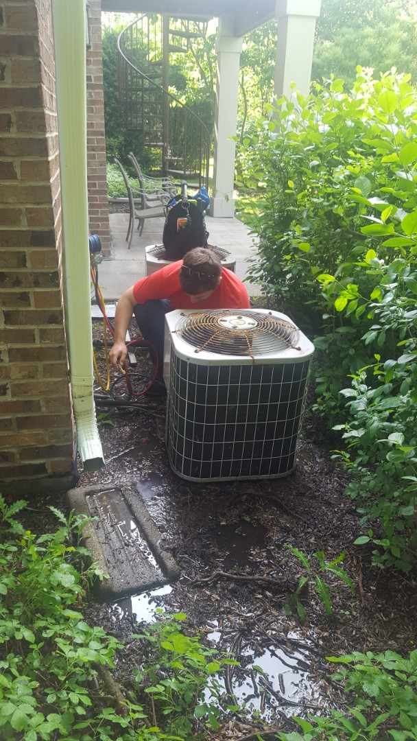 Vernon Hills, IL - Performed A.C. maintenance on Carrier air conditioner. Air Conditioning tune up in Vernon Hills.