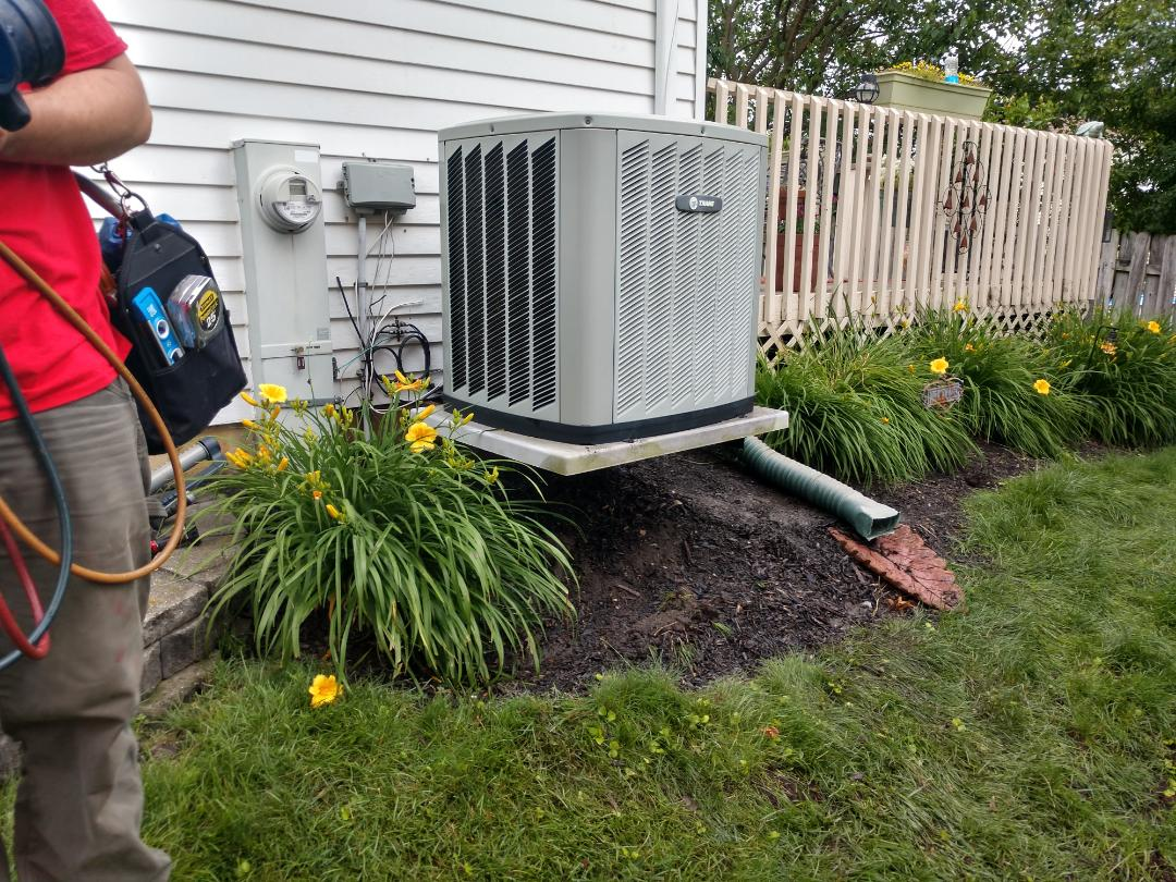 Hoffman Estates, IL - Ac no cooling service call: we diagnosed a faulty transformer that was damaged by a grounded contactor. We also performed maintenance on the Trane xb13 air conditioner