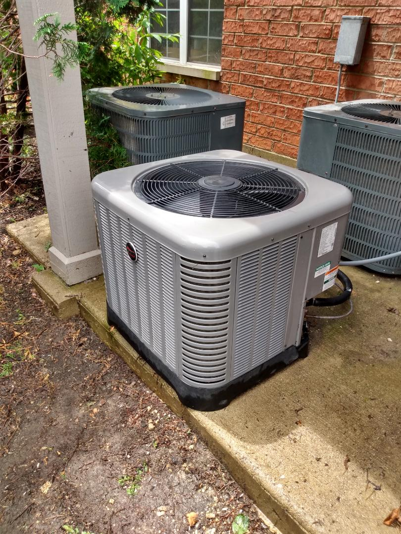 Schaumburg, IL - Performed AC maintenance on RA1324 Ruud air conditioner. Air conditioning maintenance in Schaumburg.