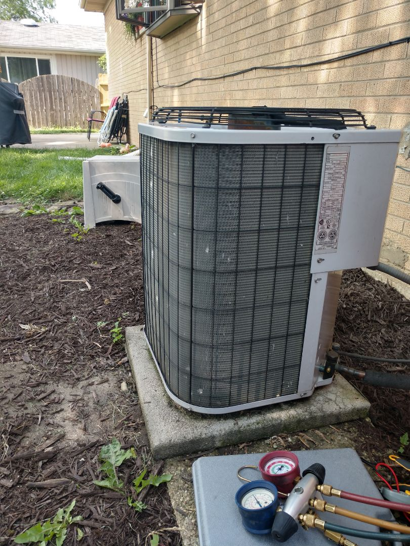 Mount Prospect, IL - Ac service on a no cool call. We recharged the air conditioner with r22 Freon