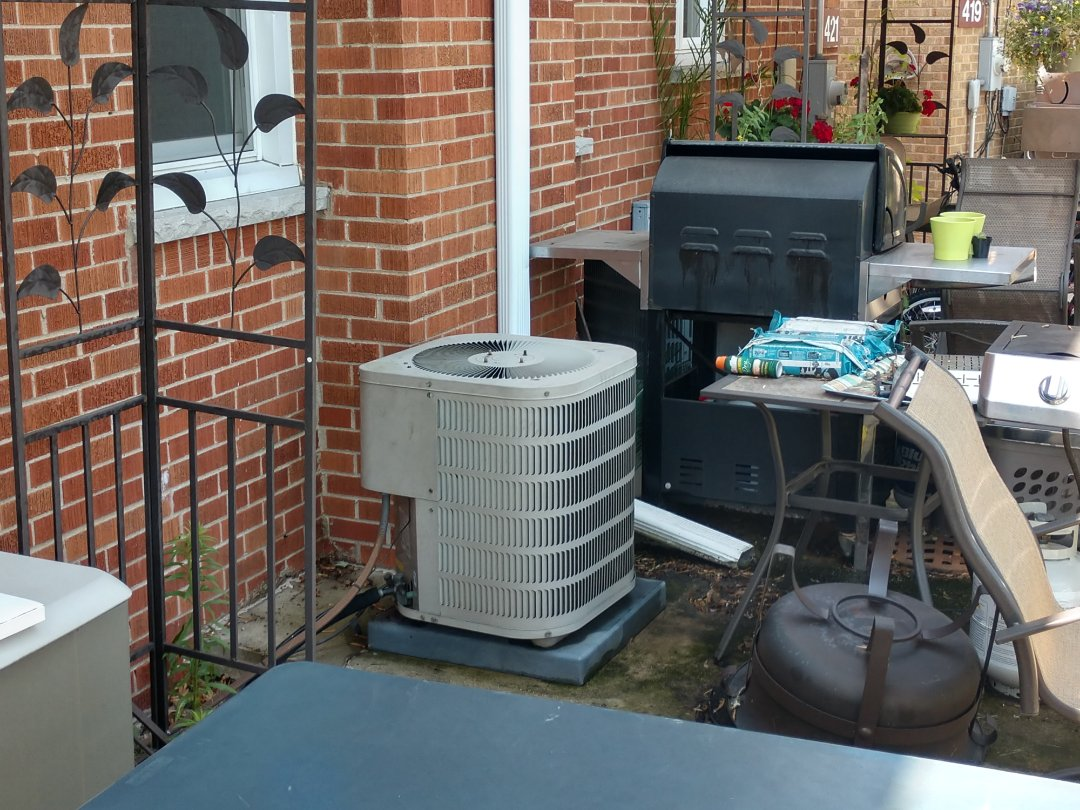 Mount Prospect, IL - Ac no cool service call. We replaced a dual capacitor on a Goodman air conditioner and performed a cleaning
