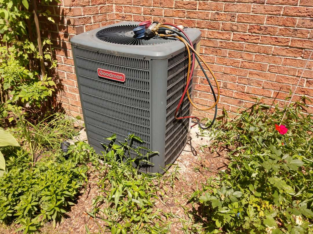 Arlington Heights, IL - Ac service no cooling call. We repaired a Goodman air conditioner by replacing a dual capacitor and performed a cleaning on the coil.