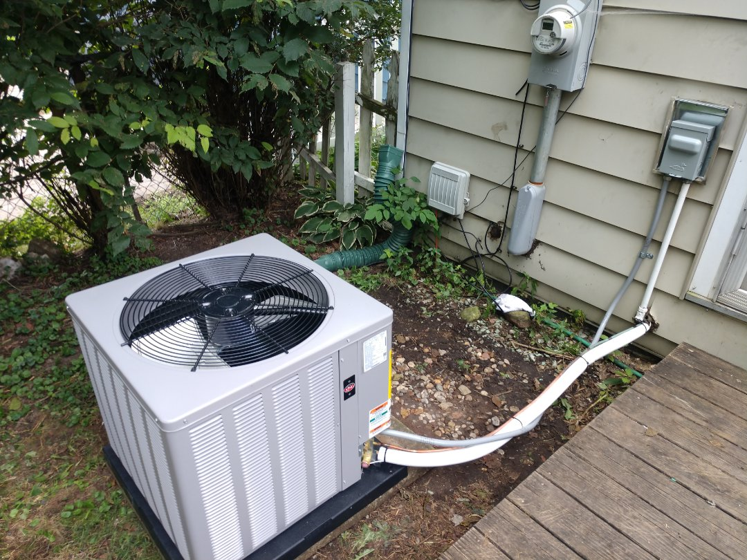 Furnace/ac installation. We installed a Rheem Weatherking wa13 air conditioner and r801 80% furnace.