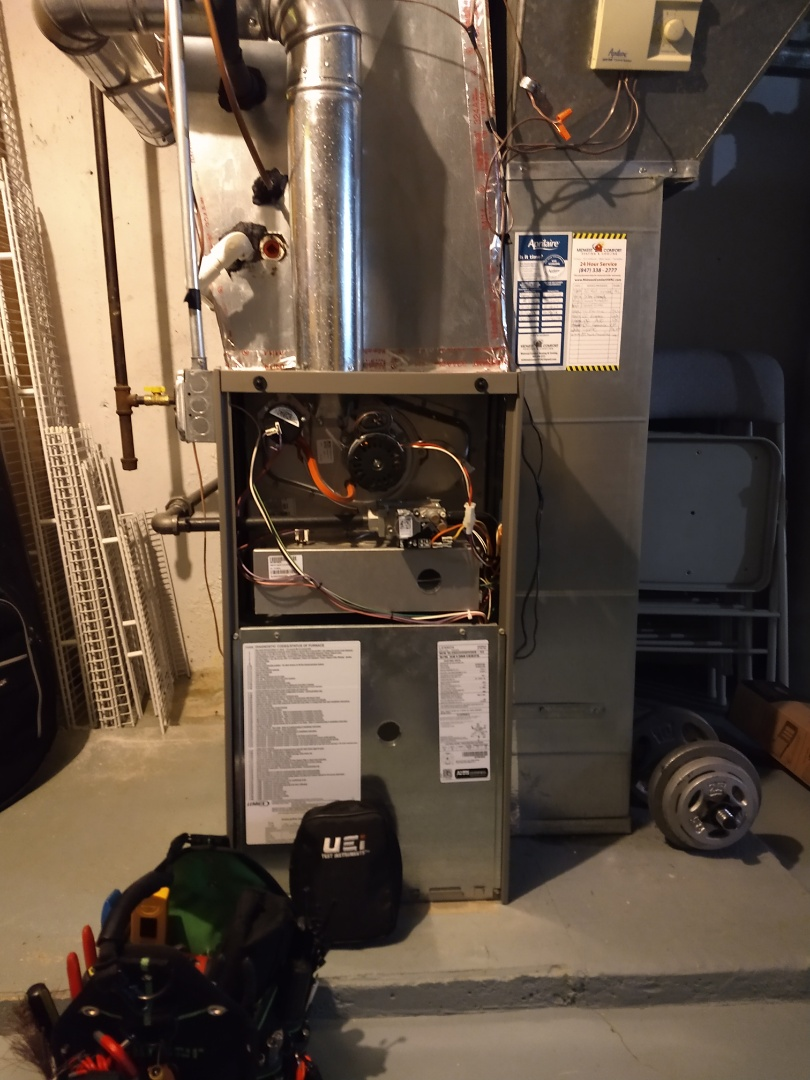 Mount Prospect, IL - Lennox 80% Furnace with Aprilaire 550  humidifier and upgraded Aprilaire filter box. Maintenance and tune up.
