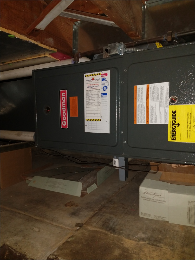 """Mount Prospect, IL - Tune up and maintenance on Trane 80% gas furnace and Goodman 90% gas furnace. Replaced bad igniter for Goodman, and replaced a low run capacitor on the Trane. Also replaced Aprilaire 810 4"""" media filter."""