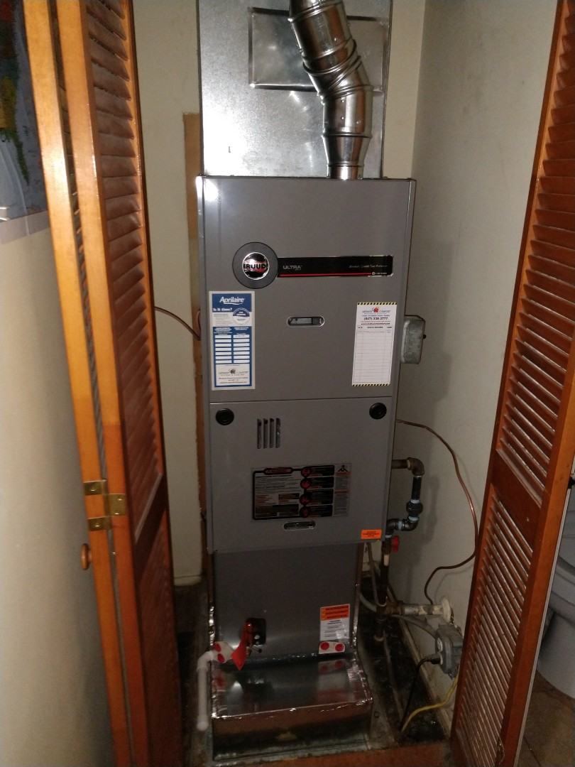 Rolling Meadows, IL - Furnace installation We installed a Rheem / Ruud u802v 2 stage variable 80% furnace, Aprilaire 1000 series air cleaner and Honeywell WiFi thermostat