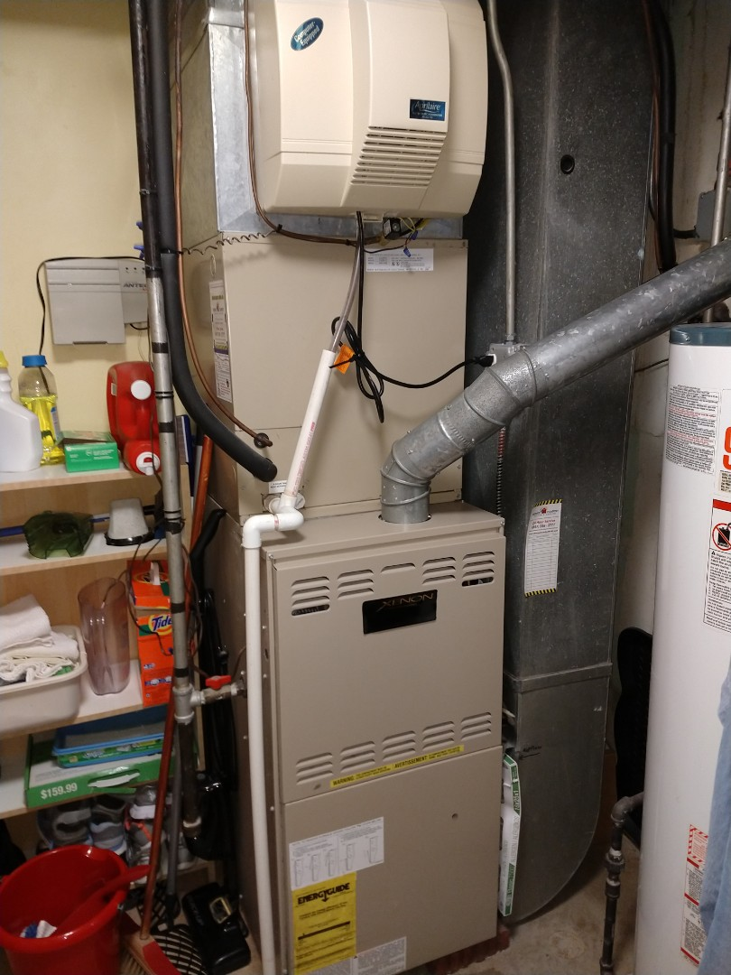Mount Prospect, IL - Humidifier diagnostic found bad solenoid. Furnace maintenance showed the 80% York Xenon gas furnace; had a bad igniter and low run capacitor. Will return to install new humidistat with new water line, solenoid and 1/4 turn water valve.