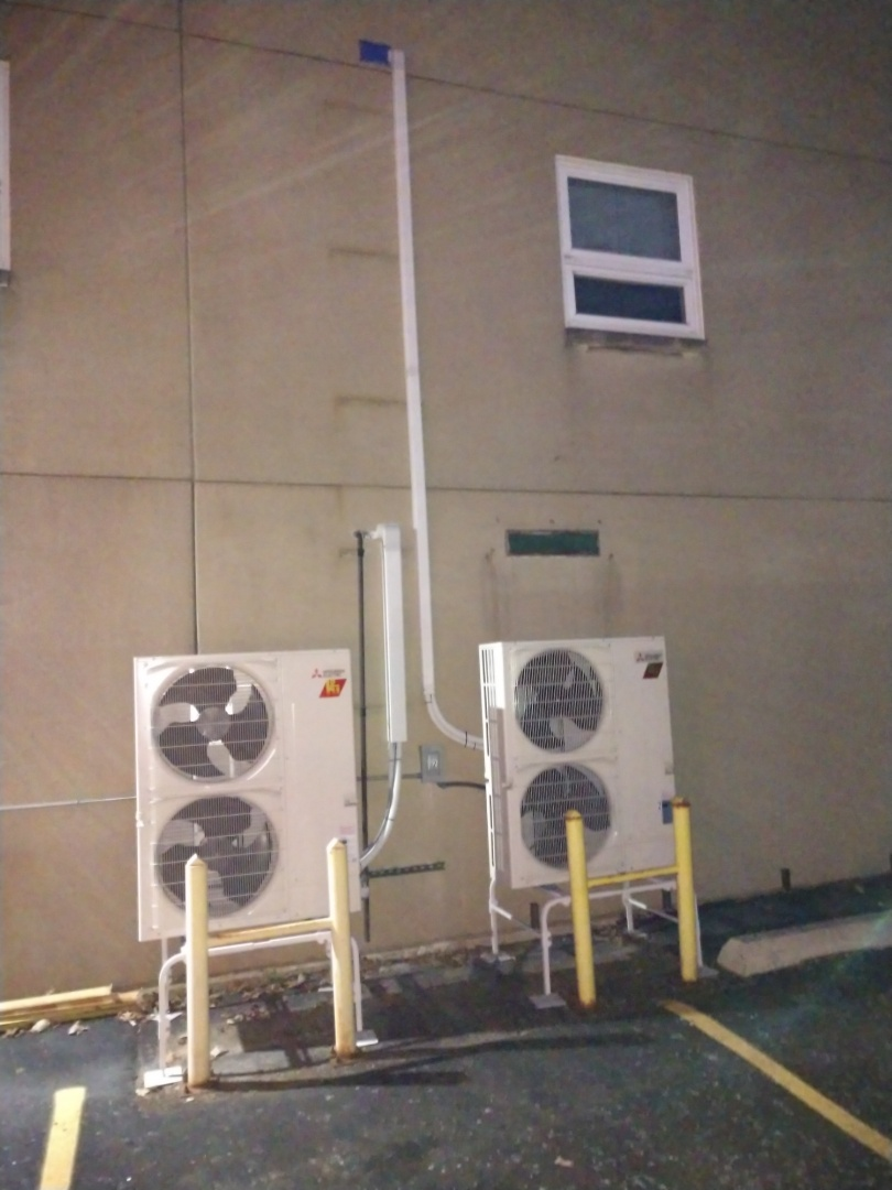 Addison, IL - Mini split ductless installation. We installed 2 multi zone Mitsubishi hyper heat h2i outdoor heat pumps with 10 indoor head units