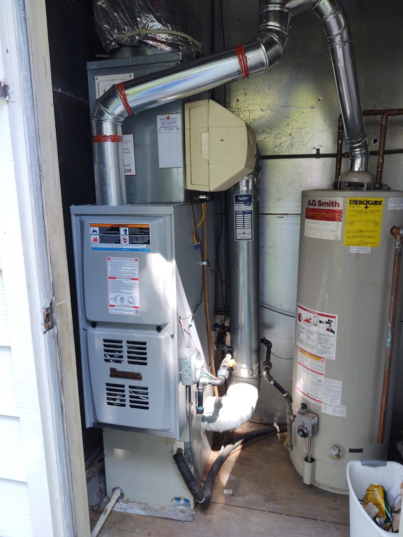 Arlington Heights, IL - Furnace installation. We installed a Ducane 80% model 80g1e furnace.