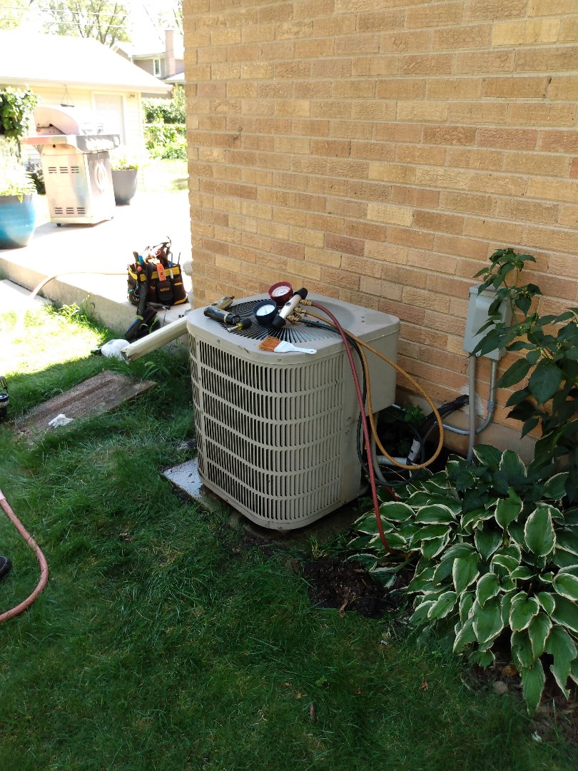 Mount Prospect, IL - Clean and check Goodman air conditioner in Mt Prospect. AC tune-up on condenser with a very dirty coil.