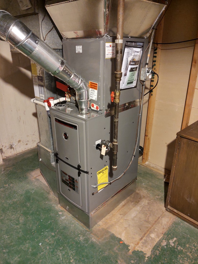 Glenview, IL - HVAC installation We installed a Ruud 80% 2 stage variable speed furnace, indoor evaporator coil and Aprilaire 600m humidifier.