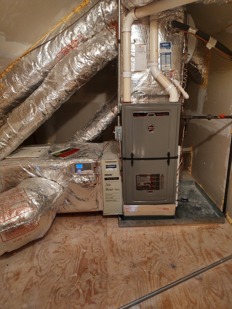 Northbrook, IL - HVAC installation We installed a Ruud U98v modulating 98% furnace and an Aprilaire filter upgrade kit