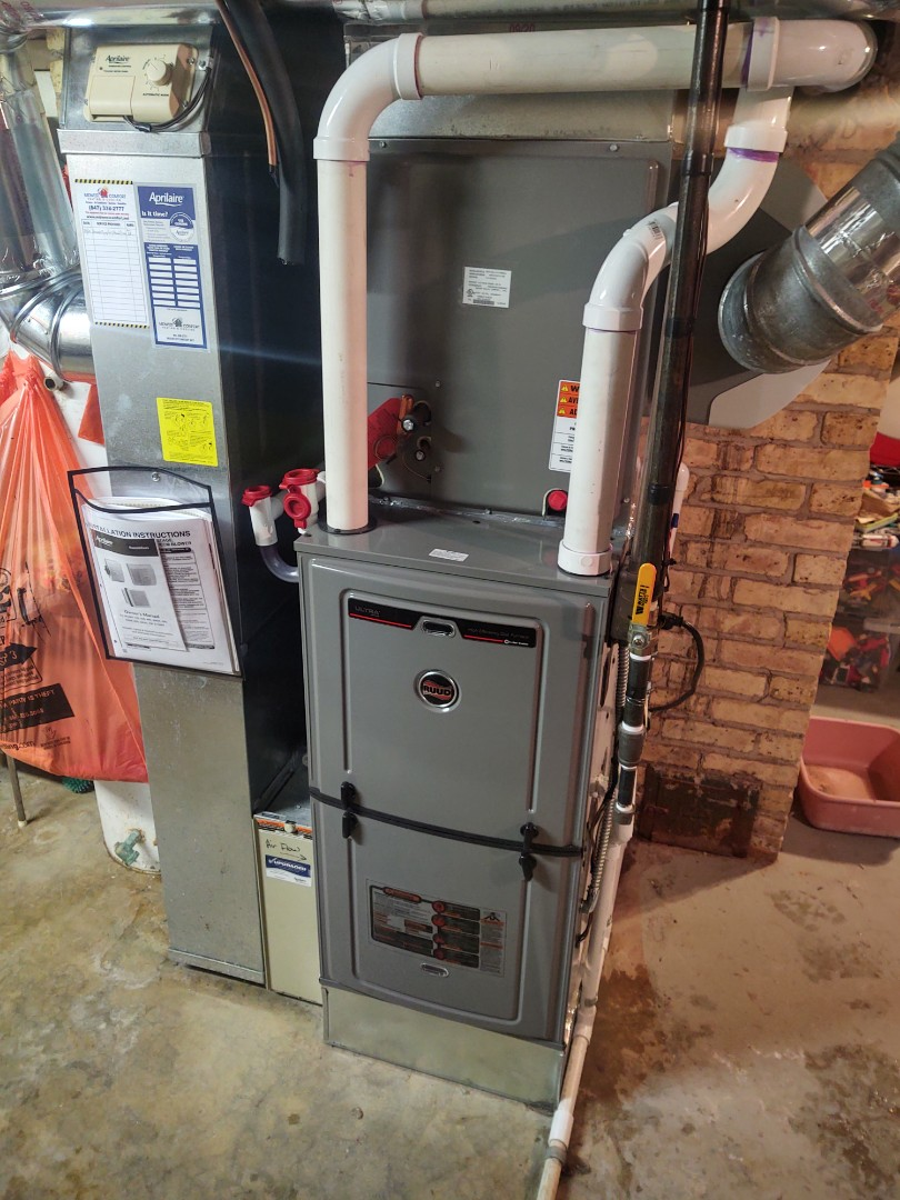 Mount Prospect, IL - HVAC installation We installed a Ruud u96v 96% 2 stage variable furnace, indoor evaporator coil and Aprilaire 600 humidifier