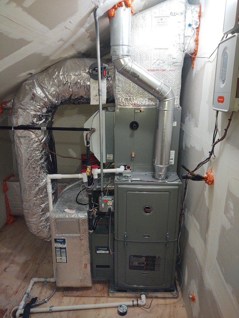 Arlington Heights, IL - HVAC installation We installed an 80% Ruud r802p 2 stage furnace and evaporator coil.
