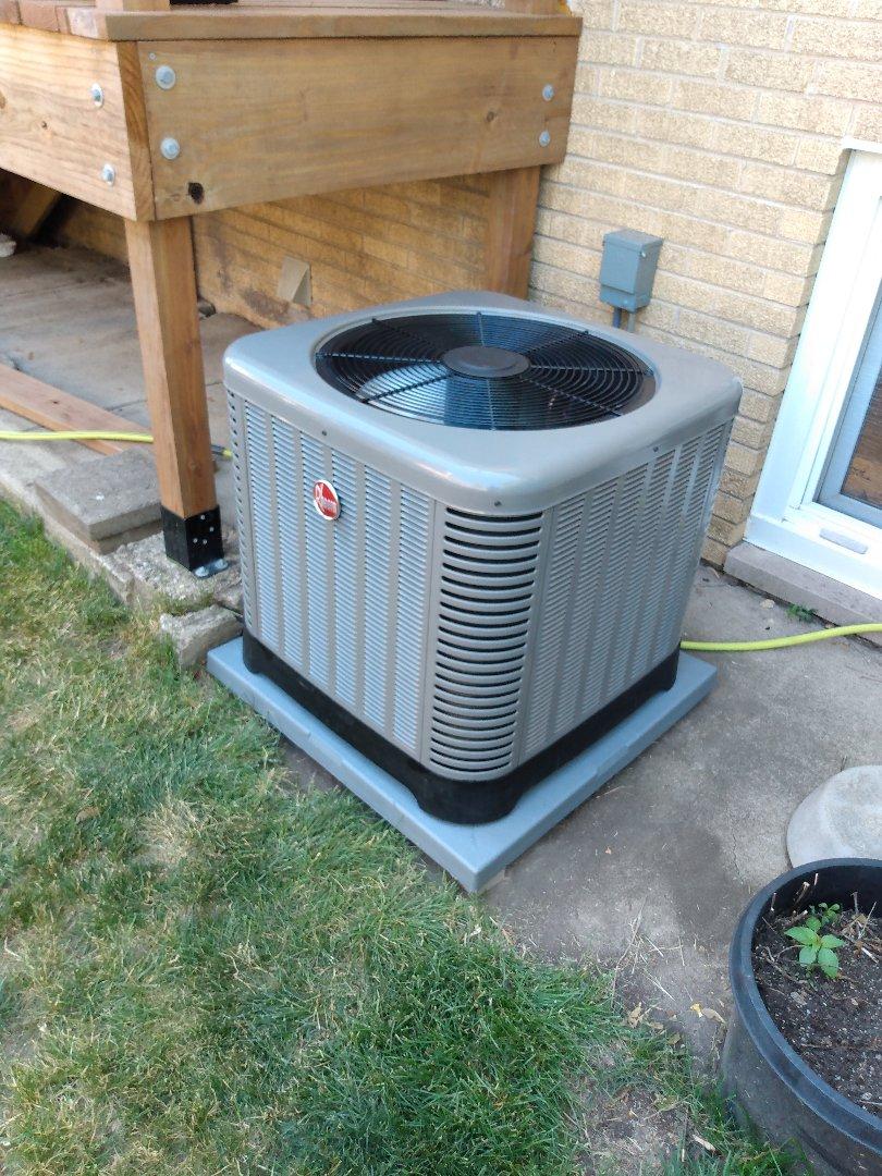 Des Plaines, IL - Installed Rheem Ruud RA13 AC. Air Conditioner installation in Des Plaines.