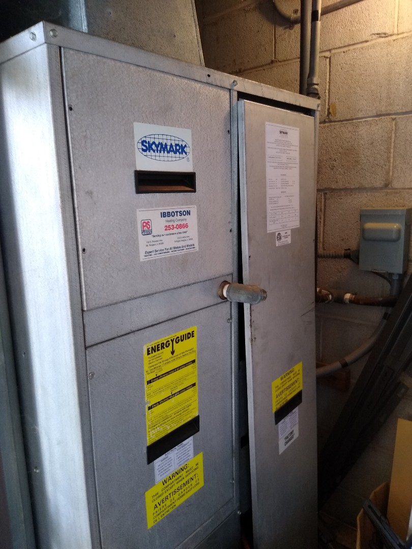 Mount Prospect, IL - Service call on Skymark package unit for no cooling. Ac condenser coil was very dirty and impacted. Chemical washed and pressures indicated system was low on freon. Added 1lbs and unit is preforming well and efficiently.